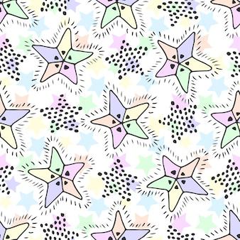 Stars nahtlose muster in pastellfarben. kindischer hintergrund für textilgewebe oder -verpackung