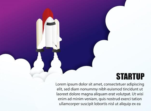Start-business-konzept. entwerfen sie mit raumfahrzeugen, raketenflug im weltraum.