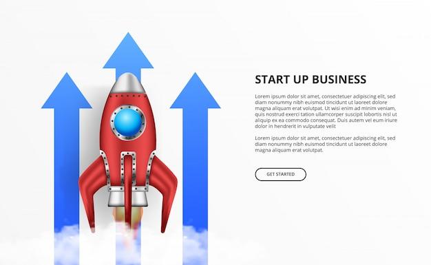 Start der rakete 3d für unternehmensgründung wachsen pfeil auf