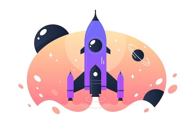 Start der weltraumrakete von der erde in den weltraum und flüge zwischen sternen. konzeptflugzeuge für wissenschaft, expeditionen und tourismus.