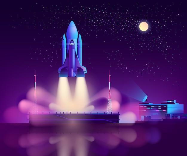 Start des space shuttles von der schwebenden plattform aus