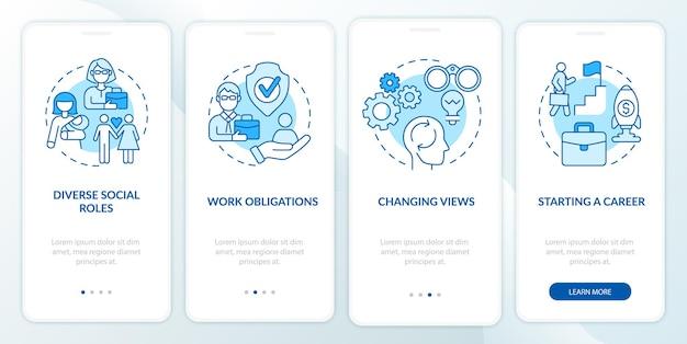 Start einer karriere onboarding mobiler app-seitenbildschirm. anleitung zum ändern von ansichten in 4 schritten mit grafischen anweisungen mit konzepten. ui-, ux-, gui-vektorvorlage mit linearen farbillustrationen