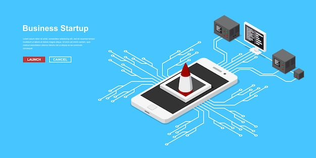 Start einer mobilen anwendung oder eines neuen starts. raketen- oder raumfahrzeugstart vom mobiltelefon. konzeptbanner im isometrischen stil für den start neuer geschäfte, dienstleistungen oder produkte.