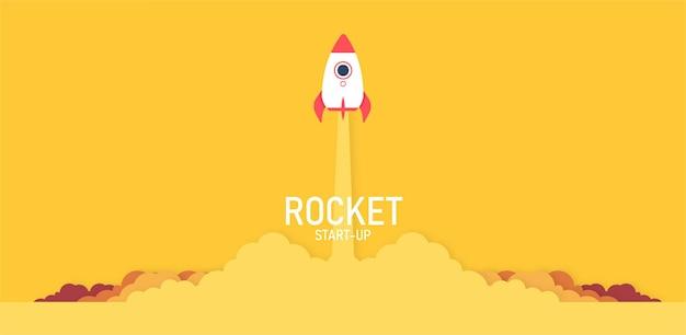 Start einer rakete am himmel, die über den wolken ein raumschiff in der cloud-geschäftsidee in yellow fliegt