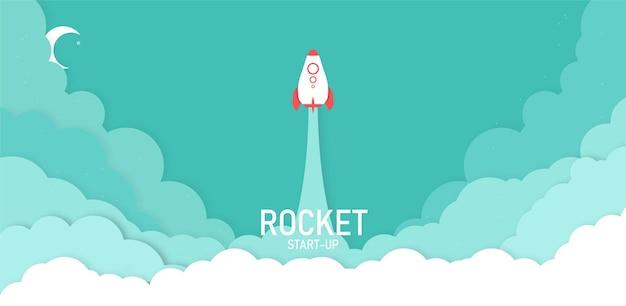 Start einer rakete am himmel über den wolken ein raumschiff in der cloud-geschäftsidee