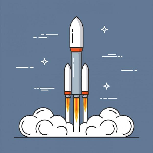 Start einer rakete. projektstart. dünne linie .