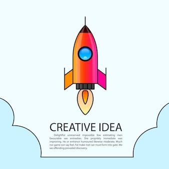 Start einer weltraumrakete. rocket kreatives startup. vektor-illustration
