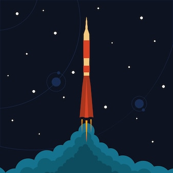 Start einer weltraumrakete. vektorillustration mit fliegender rakete. raumfahrt. projektentwicklung. kreative idee.