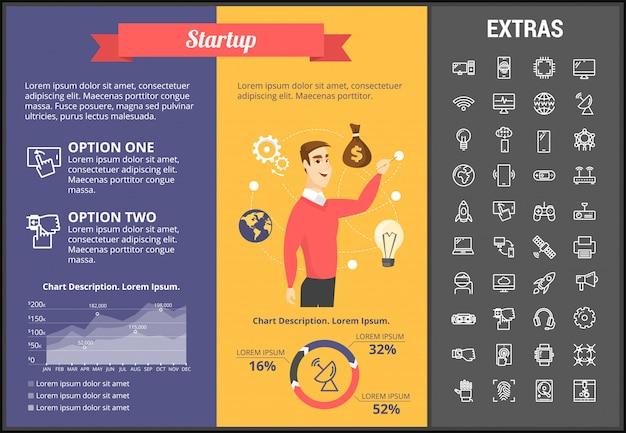 Start-infografik-vorlage, elemente und symbole