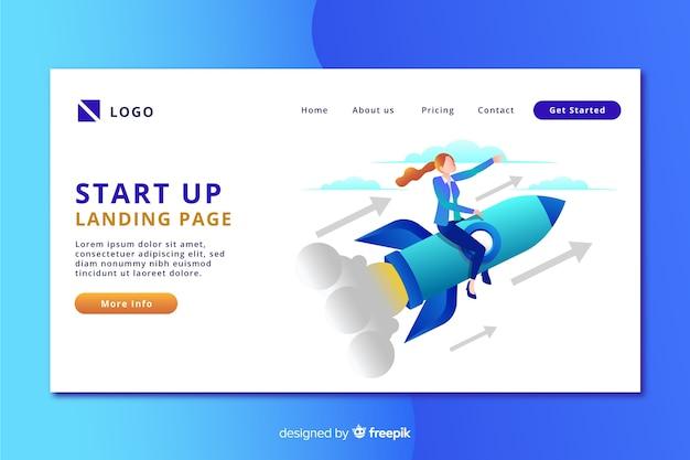 Start-landing-page mit einer person auf einer rakete