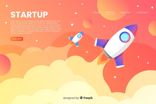 Start-landing-page mit einer rakete