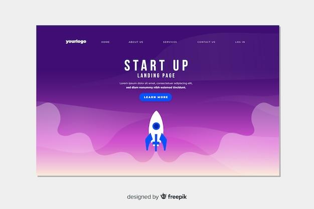 Start-landing-page mit farbverlauf und raumschiff