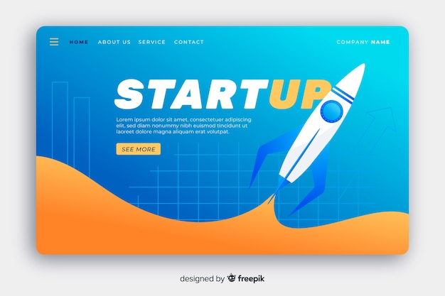 Start-landing-page mit fliegender rakete