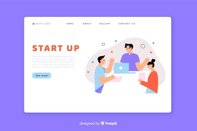 Start-landing-page mit teamarbeit