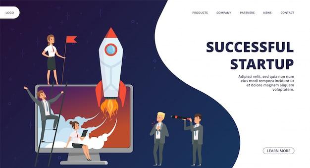 Start-landingpage. erfolgreiches business team web banner