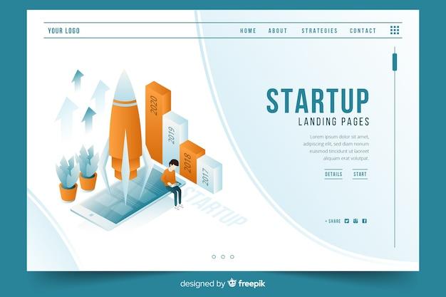 Start-landingpage im isometrischen design