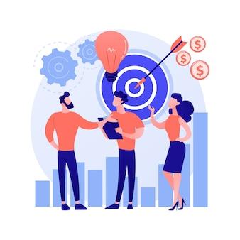 Start, raketenstart, projektstart. geschäft einstellen, firmengründung. teamwork, kooperation, partnerschaft. geschäftsleute zeichentrickfiguren