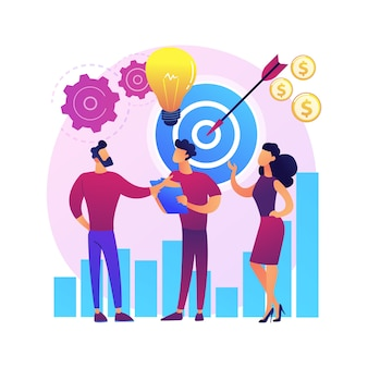 Start, raketenstart, projektstart. geschäft einstellen, firmengründung. teamwork kooperationspartnerschaft. geschäftsleute zeichentrickfiguren