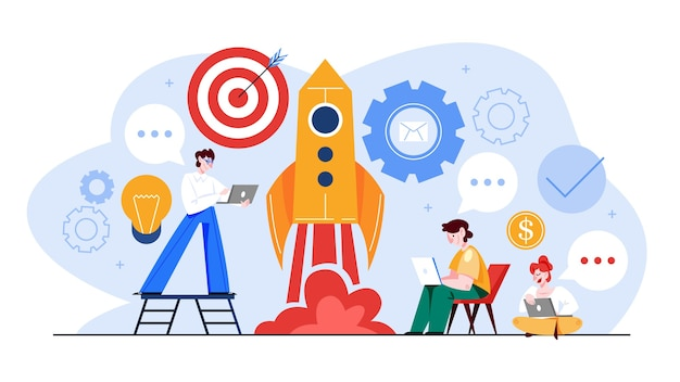 Start- und teamwork-konzept-webbanner. geschäftsgewinn und finanzielles wachstum. erfolgreiche strategie. illustration im cartoon-stil