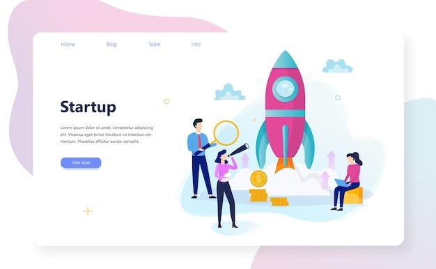 Start- und teamwork-konzept-webbanner. geschäftsgewinn