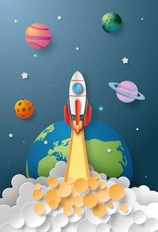 Start-up business-konzept, rakete startet in den raum