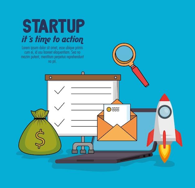 Start-up-geschäft stellen icons
