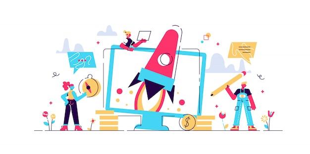 Start up, konzept für webseite, banner, präsentation, social media, dokumente, karten, poster. illustrationteam arbeitet am start des raumschiffstarts, geschäftsleute arbeiten