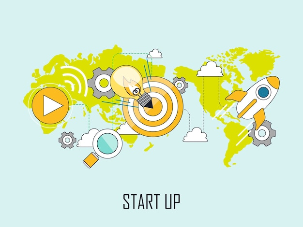 Start-up-konzept: glühbirne und rakete im linienstil