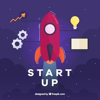 Start-up-konzept mit rakete