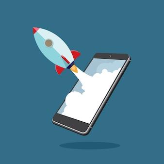 Start-up-unternehmen mit smartphone