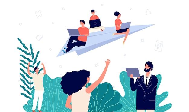 Start von geschäftsprojekten. startup-team, it-entwicklung oder neue führungskräfte. junge leute mit laptop fliegen auf papierflieger. glückliche frau mann freiberufler, online-gamer-vektor-illustration