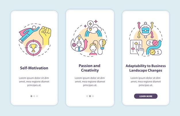 Startanforderungen für den start beim onboarding der mobilen app-seitenbildschirm