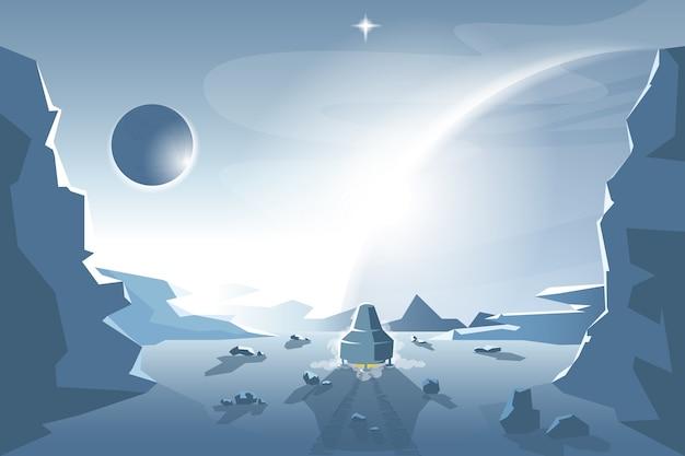 Starte ein shuttle von einem unbekannten planeten
