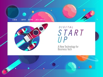 Starten Sie Banner Vorlage für Business-Technologie