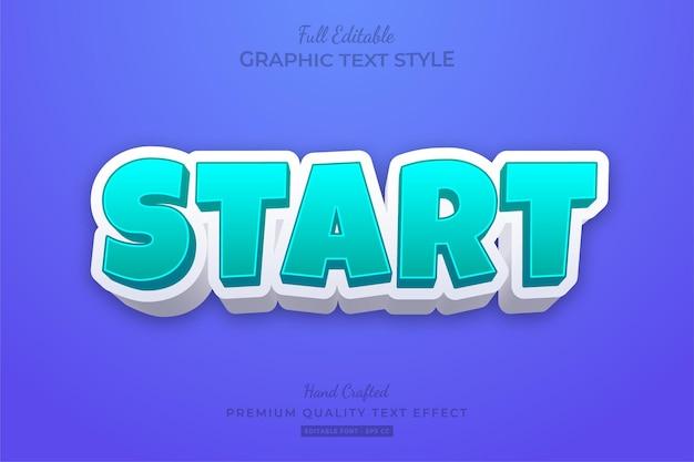 Starten sie cartoon modern bold editable text effect font style