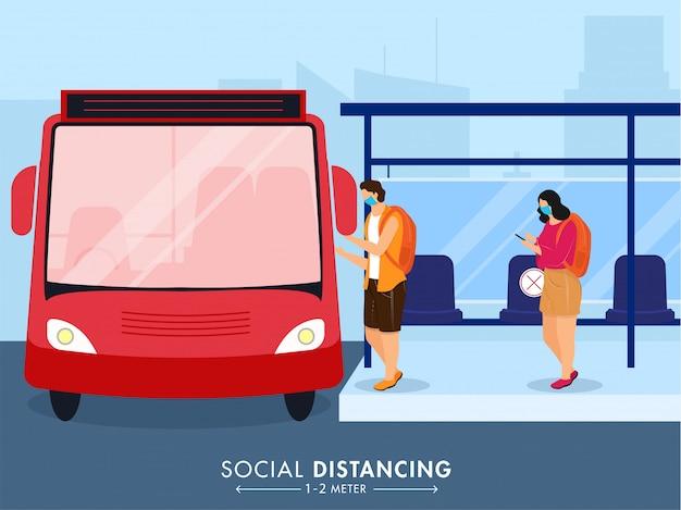 Starten sie das reise- / transaktionskonzept nach einer pandemie neu, indem sie die nachricht zur sozialen distanz beibehalten.
