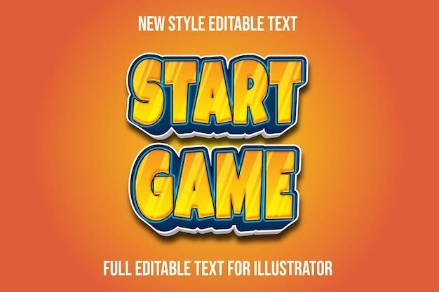 Starten sie das spiel des texteffekts 3d im orange und blauen farbverlauf