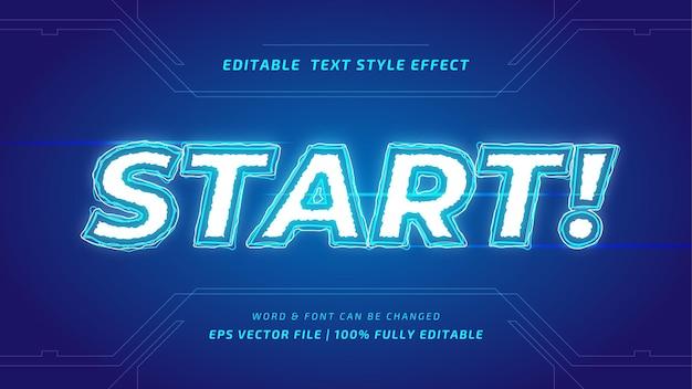 Starten sie das spiel editierbaren 3d-vektor-text-stil-effekt. bearbeitbarer illustrator-textstil.