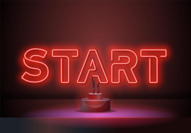 Starten sie die designvorlage für neonzeichenvektoren. starten sie race neon-text, licht-banner-design-element bunter moderner designtrend. vektor-illustration