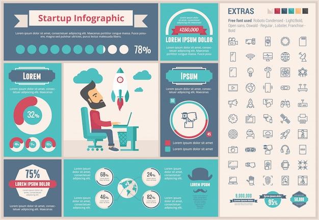 Starten sie flaches design infographik vorlage