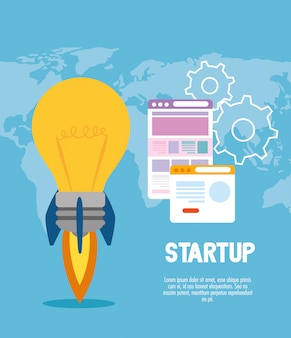 Starten sie glühbirnenrakete mit websites vektor-design