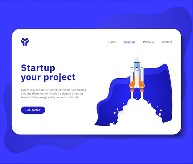 Starten sie ihr projekt für eine website mit einer raumschiffillustration