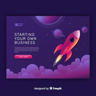 Starten sie ihre business-raketen-landingpage