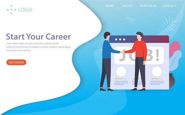 Starten sie ihre karriere, landing page illustration