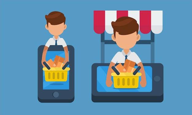 Starten sie kleinunternehmen, online-shopping-konzept auf dem handy. illustration