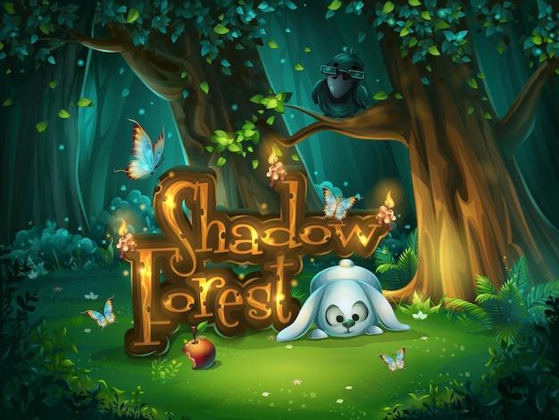 Startfenster für die benutzeroberfläche des spiels. illustrationsbildschirm zum computerspiel shadowy forest gui.