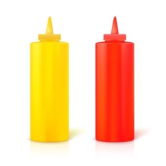 Startflaschen mit senf und ketchup. gelbe und rote plastikflaschen
