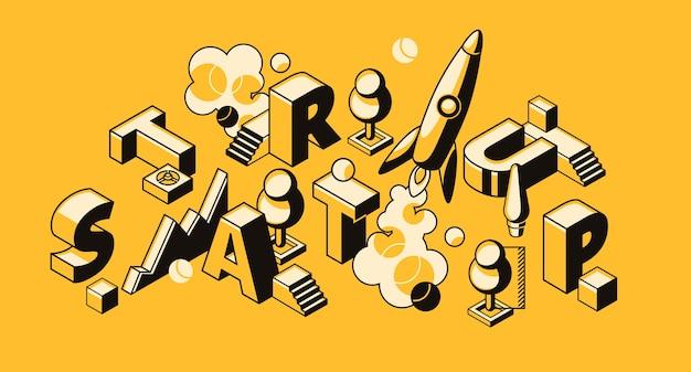 Startgeschäftsillustration der raketen- oder projekteinführung.