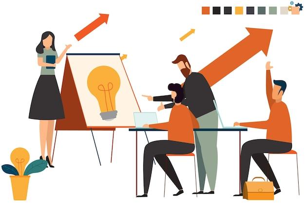 Startgeschäftsleute-gruppenarbeit täglicher job an coworking büroräumen.