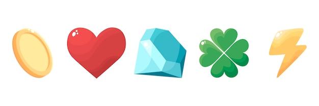 Startkit, satz isolierter symbole, elemente für die grafische oberfläche des spiels. ressourcenspieler (münzen, leben, gesundheit, kristalle, mana, glück, ewigkeit, energie und ausdauer).